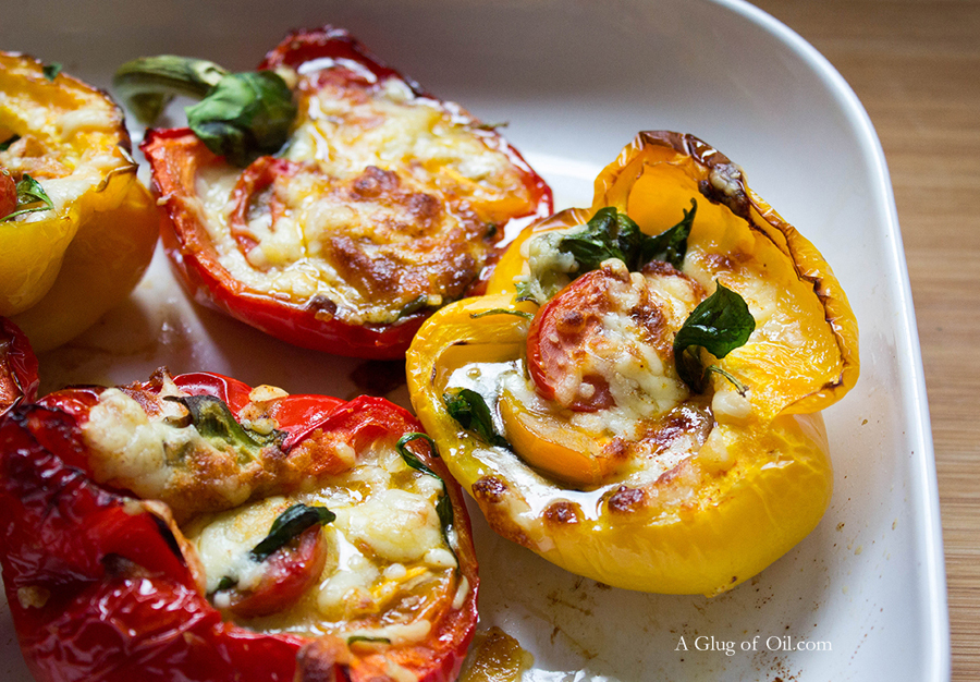Cheese Tomato Spinach Stuffed Peppers