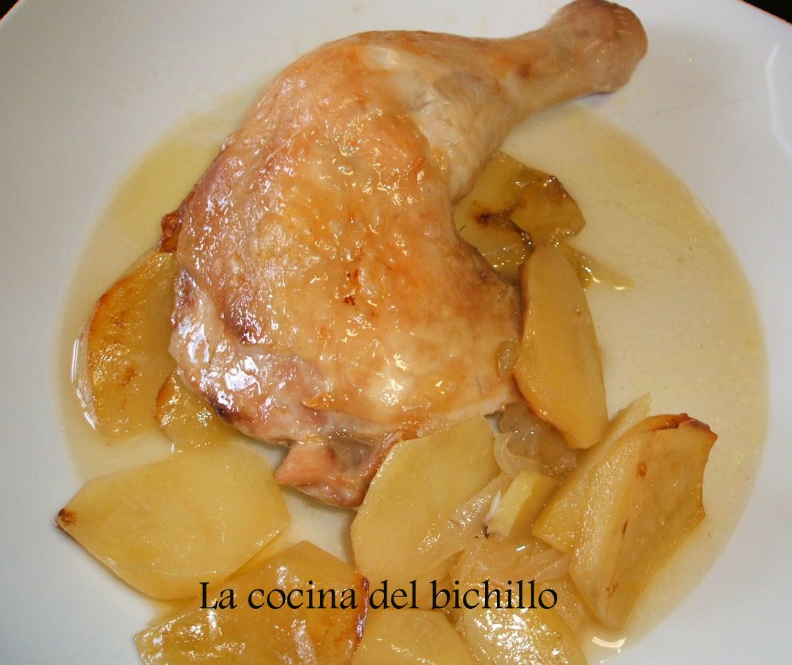 La cocina del bichillo muslos de pollo al horno con patatas for Cocinar 2 muslos de pollo