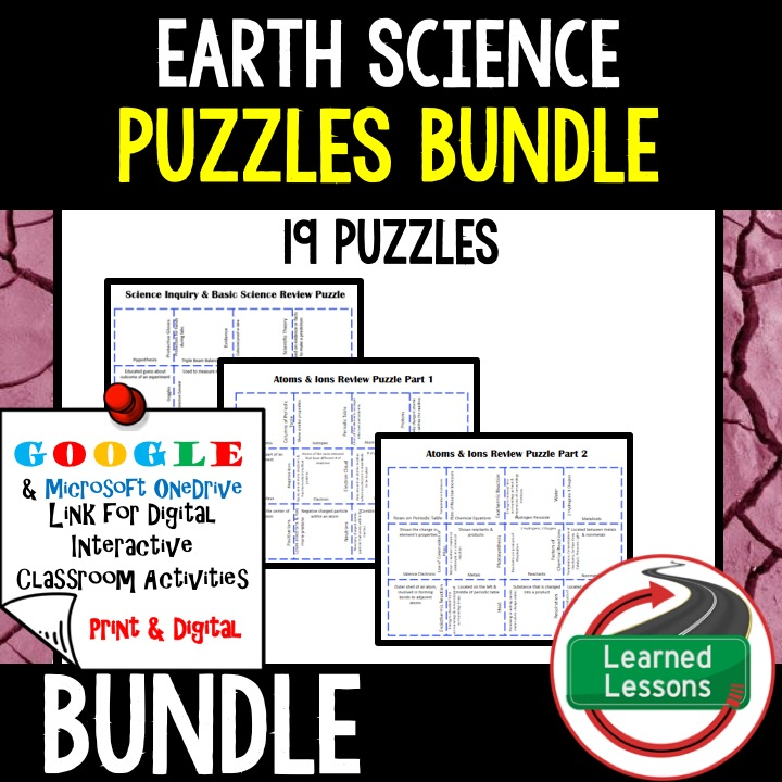 Earth Science Review Puzzles BUNDLE Interactive Digital Notebook Google Link Or PRINT Version