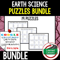 Earth Science Review Puzzles BUNDLE, Interactive Digital Notebook, Google Link, or PRINT Version, Test Prep, Unit Review, Vocabulary Activity, Earth Science Puzzles, Vocabulary, Test Prep, Unit Review