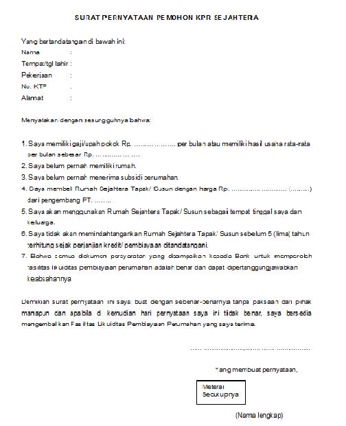 Contoh Surat Pernyataan Belum Memiliki Rumah Dari Pemohon Dan Pasangan Contoh Surat