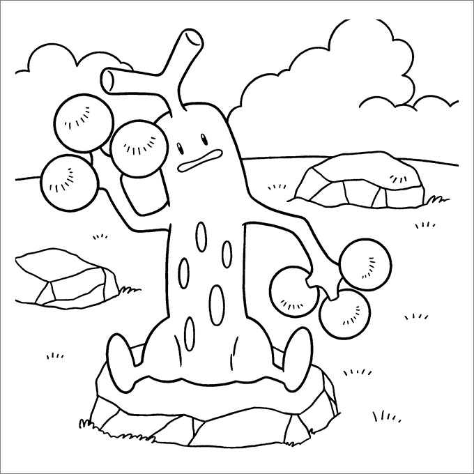 Sudowoodo Pokemon Coloring Pages Print Sheet