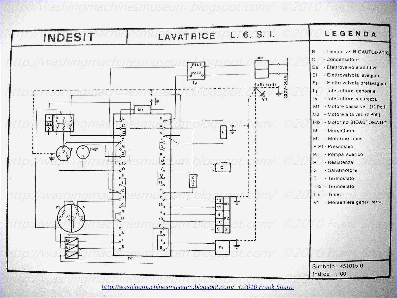 Washer Rama Museum Indesit (spirea) Mod L 6 S I Schematic Diagram Washing  Machine Oil Filter Indesit Washing Machine Wiring Diagram