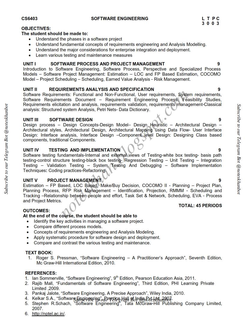 CS6403 SOFTWARE ENGINEERING Syllabus Semester IV IT BTECH Anna  University Regulation 2013