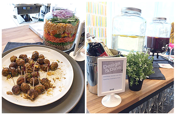 design & dine at IKEA, beggie meatbalss, fruit drinks, stations of food