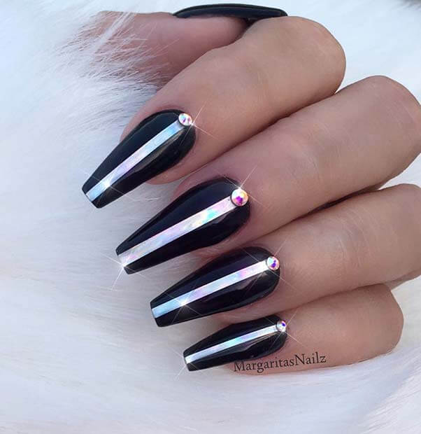 31+ Latest Black Coffin Nails Ideas Collection For Summer