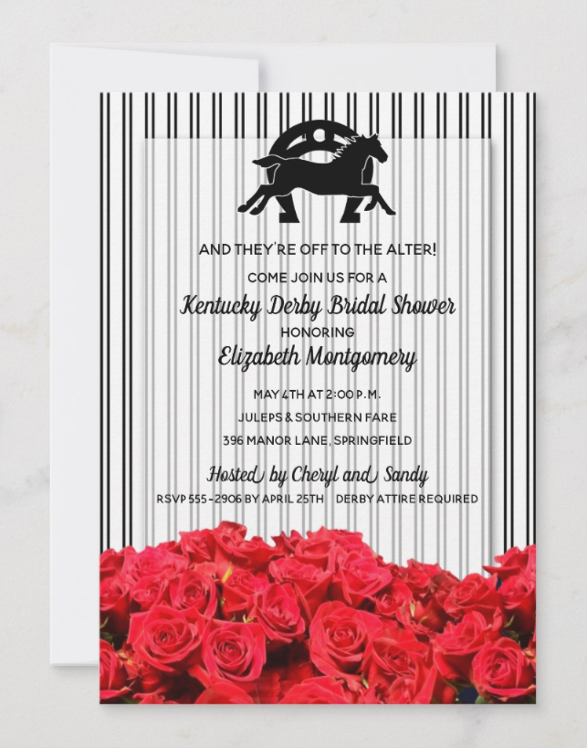 Black and White Stripes and Roses Kentucky Derby Party Invitations - perfect for Derby Themed Bridal Showers!