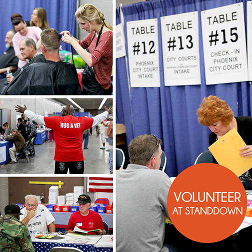 collage of images from past StandDown events, featuring volunteers working with veterans