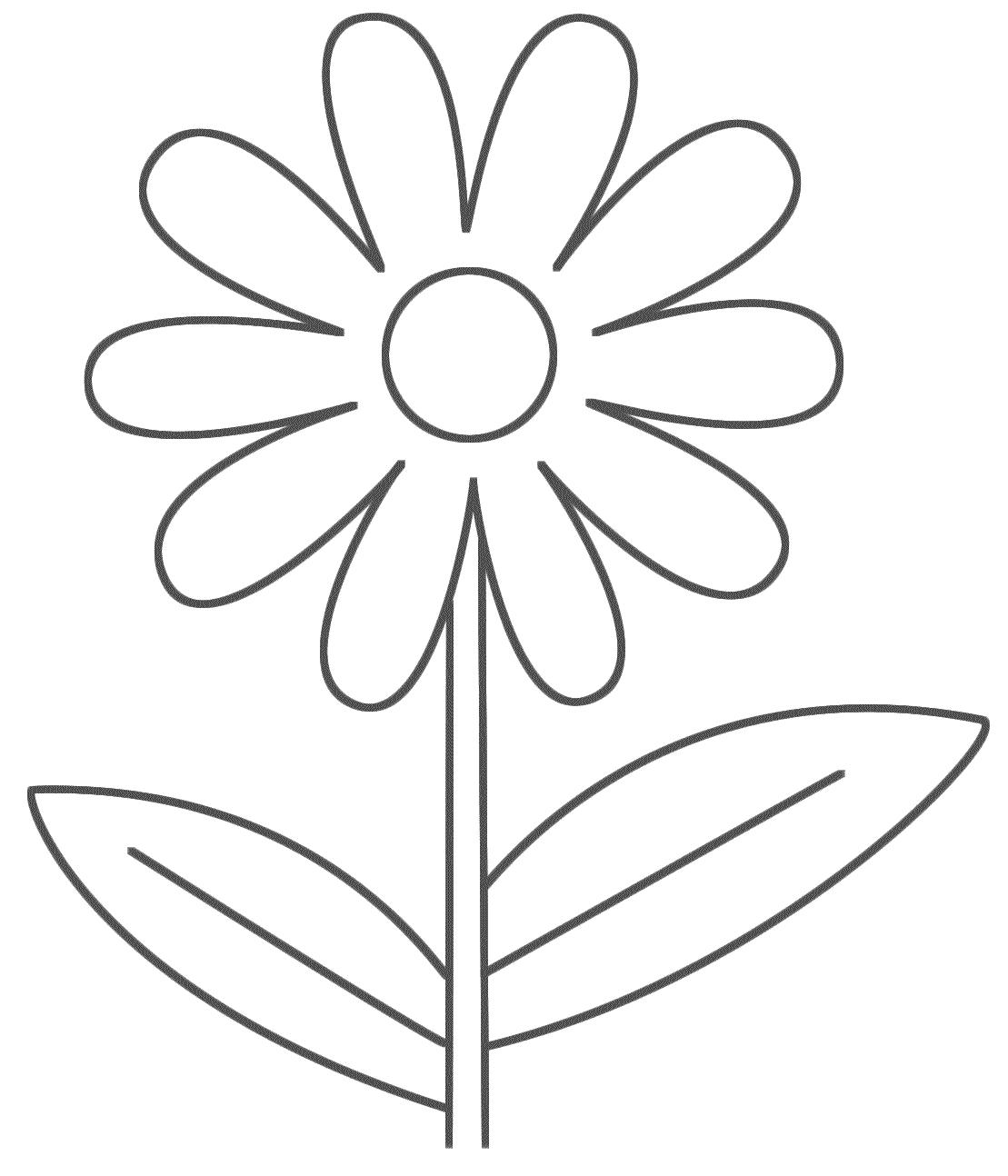 Dessins Et Coloriages Page De Coloriage Grand Format A Imprimer Une Fleur Simple Ideale Pour Les Petits Enfants
