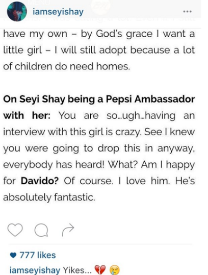 Tiwa savage evades seyi shay question in interview proving that the two don't like each other