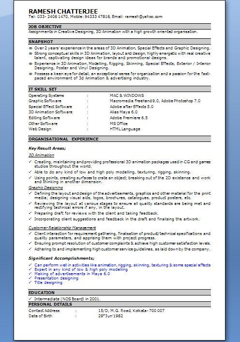 microsoft resume template 2010