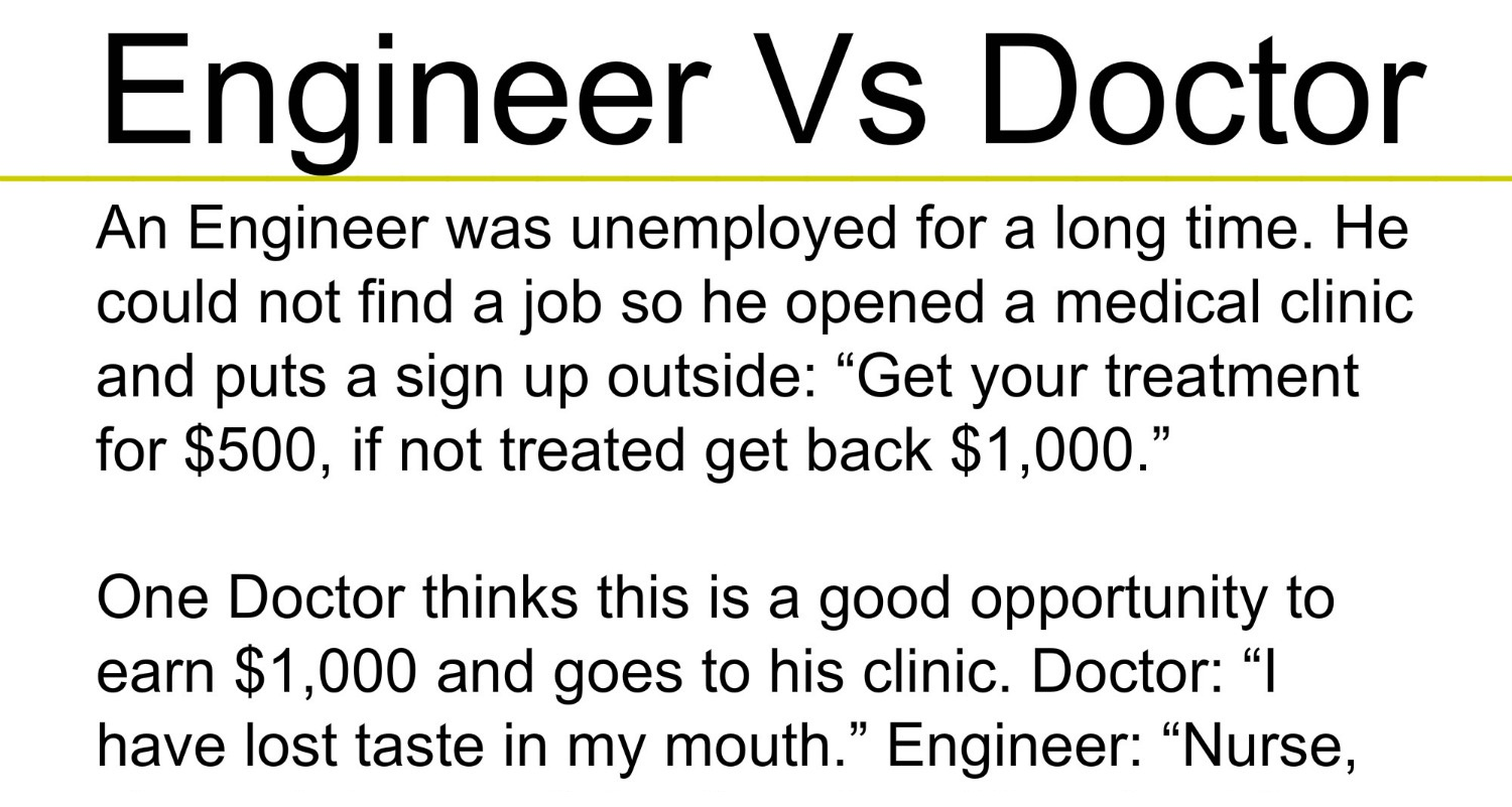 Beautiful Quotes Engineer Vs Doctor