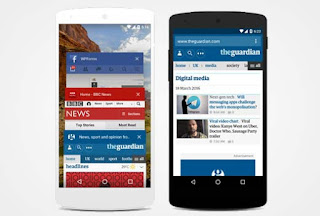 BBC dan Facebook menggunakan warna merek mereka sendiri untuk address bar di browser mobile