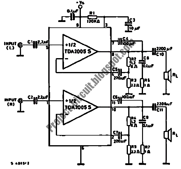 Free Project Circuit Diagram: TDA2005 Audio Amplifier Circuit
