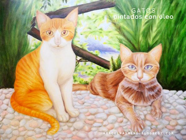 Pintando cuadro de gatos con óleos
