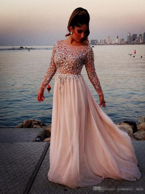 A-line Scoop Neck Chiffon Tulle Sweep Train Beading Prom Dresses