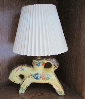 H B Quimper Pottery Lamp-head left with shade 2-on wood-2969 x 3456-jpg