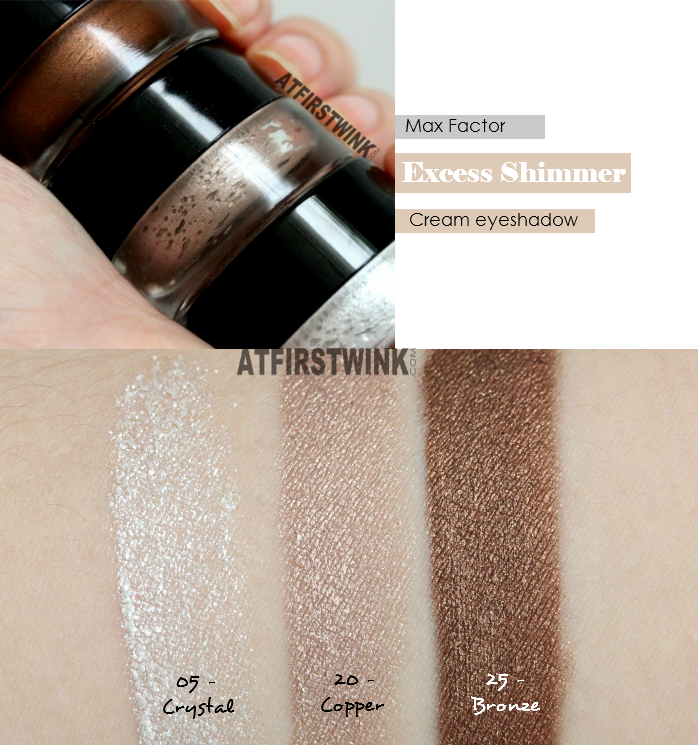 Max Factor Excess Shimmer Eye Shadows swatches: Crystal, Copper, and Bronze