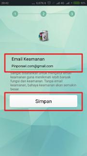 Tambahkan email keamanan lalu simpan