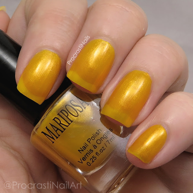 Swatch of Dollarama Mariposa Yellow Shimmer Nail Polish