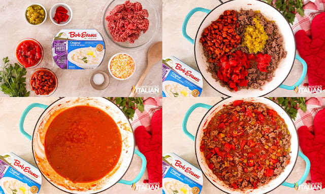 Step by step, preparing the chili
