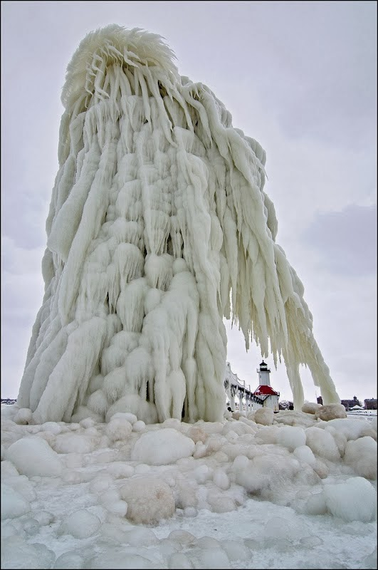 Lake Michigan's Famous Frozen Lighthouses