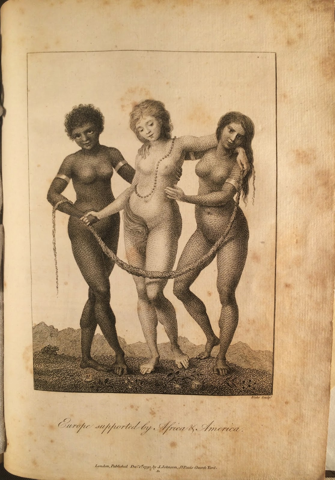 """A full-page illustration showing a three nude women, one European being physically supported by one African and one Native. The caption is """"Europe supported by Africa and America."""""""