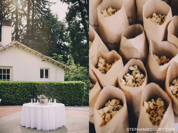 popcorn treats for guests arriving to wedding ceremony