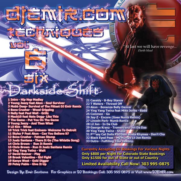 DJ Emir Techniques Volume 6: The Star Wars Mixtape Back Cover