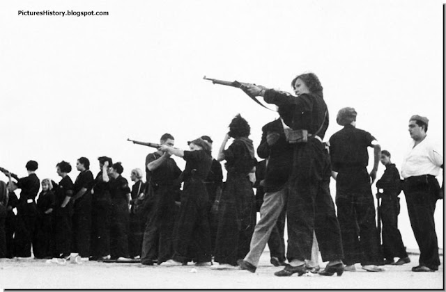 Soldiers train women loyalists Barcelona Spanish Civil War. June 2, 1937.