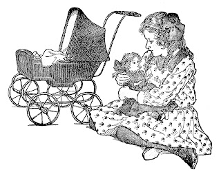 girl doll carriage vintage digital clipart image download
