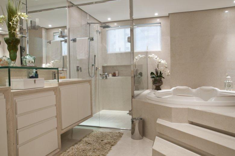 BANHEIROS COM BANHEIRA – FOTOS, MEDIDAS E DICAS PARA INSTALAR SUA BANHEIRA   -> Banheiro Com Banheira De Hidro
