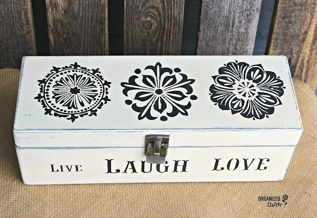 Thrift Shop Box Upcycled with Stencils, Chalk Paint & a Metal Catch