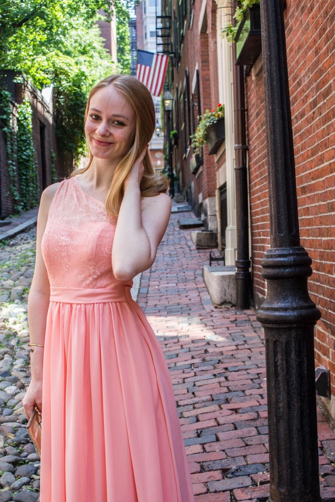 pink bridesmaid dress review azazie