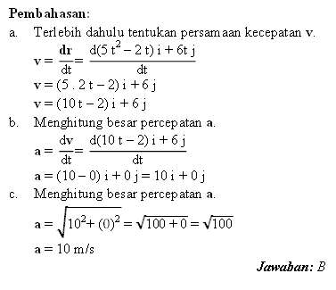Pembahasan soal gerak dengan analisis vektor
