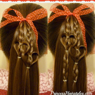 Double linked heart ponytail hairstyle for Valentine's Day.