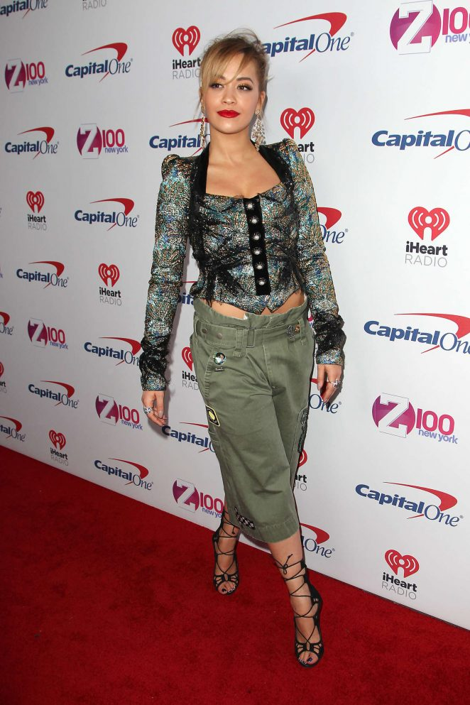 Rita Ora flaunts taut torso at the Z100 iHeartRadio Jingle Ball 2016 in NY