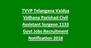 TVVP Telangana Vaidya Vidhana Parishad Civil Assistant Surgeon 1133 Govt Jobs Recruitment Notification 2018