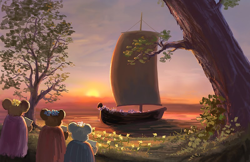 mice journey home towards the sunset