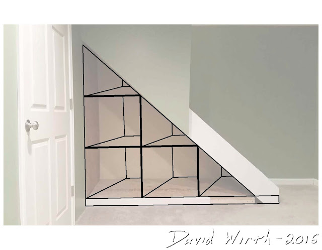 shelves under stairs, design, storage, space
