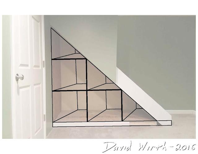 shelves under stairs, design, storage, space
