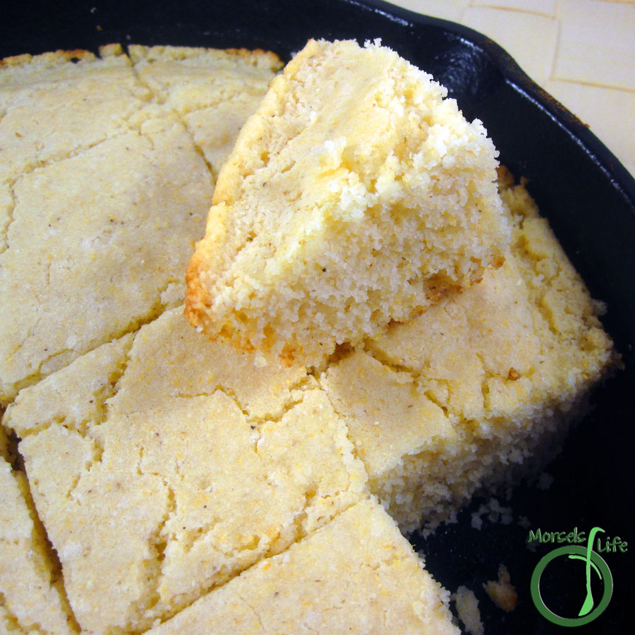 Morsels of Life - Basic Cornbread - A Southern style cornbread baked in a cast iron skillet.