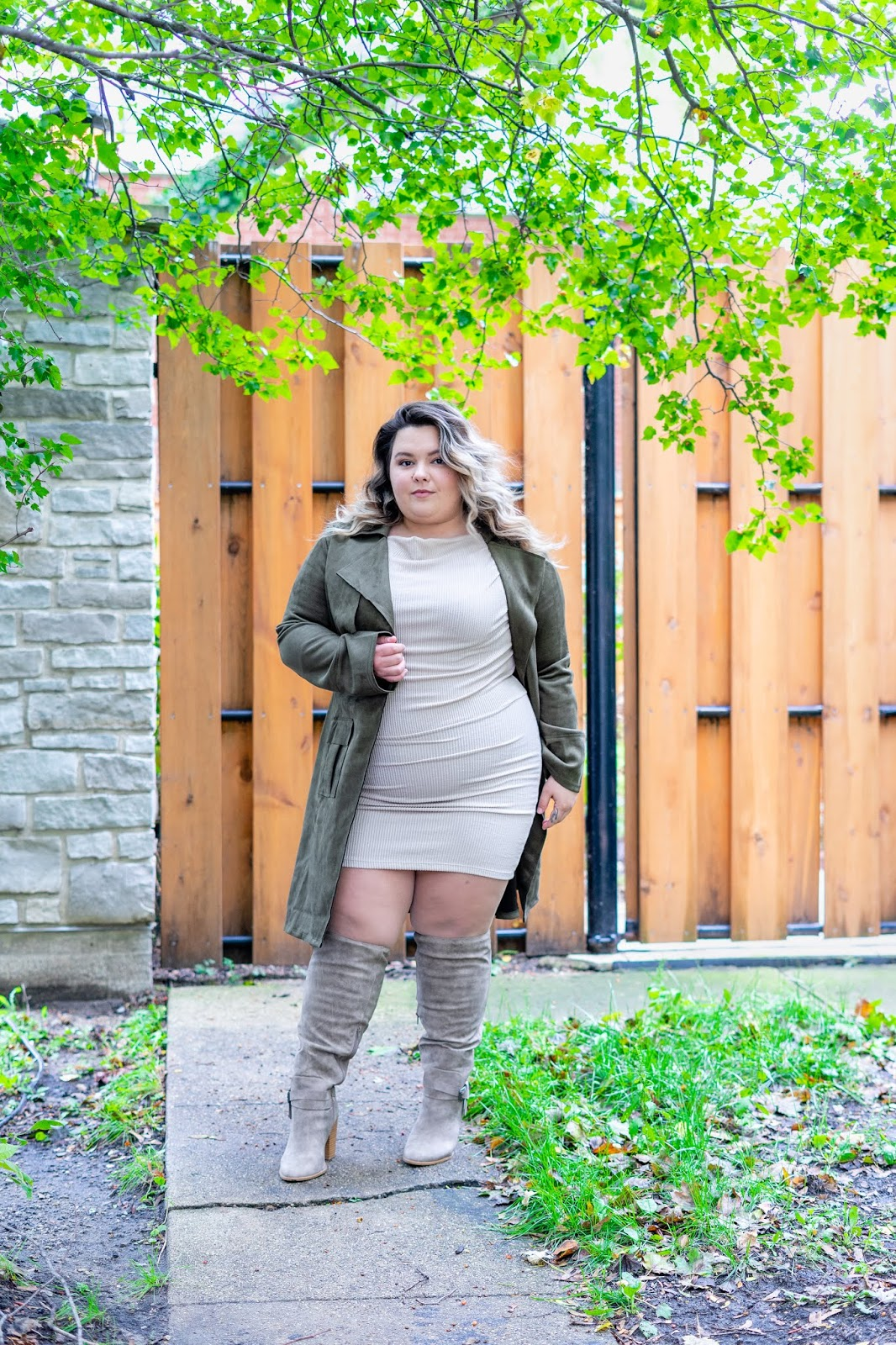 Chicago fashion blogger, Chicago plus size fashion blogger, natalie Craig, natalie in the city, plus size fashion, Chicago fashion, plus size fashion blogger, eff your beauty standards, fatshion, skorch magazine, Chicago model, plus size model, plus size petite, affordable plus size clothing, embrace your curves, plus model magazine,  petite plus size, body positive, fashion nova curve, fashion nova, plus size suede jacket, long sleeve plus size dress, wide calf boots, wide width boots