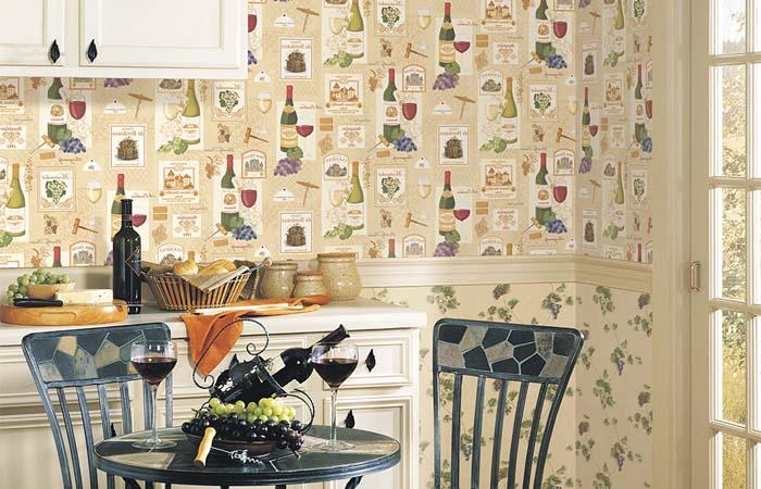 şarap şişesi desenli mutfak duvar kağıtları