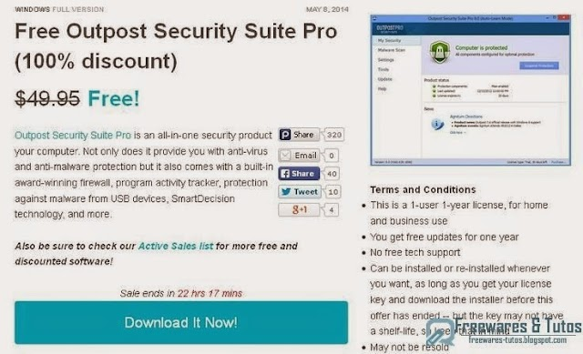 Offre promotionnelle : Outpost Security Suite Pro gratuit !