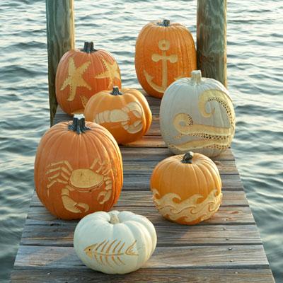 Seaside Inspired Beach Decor Coastal Halloween Pumpkins