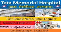 Tata Memorial Centre Recruitment 2018– 233 Female Nurse, Junior Engineer, Lower Division Clerk