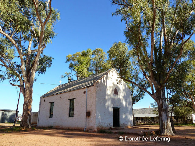 Small little cottage on unpaved red dusty square under large Eucalyptus trees under a blue sky.
