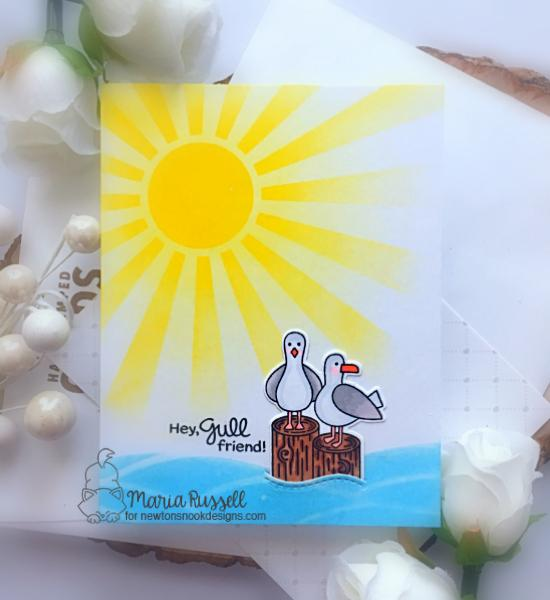 Seagull Card by Maria Russell | Gull Friends Stamp Set and Sunscape Stencil by Newton's Nook Designs #newtonsnook #handmade
