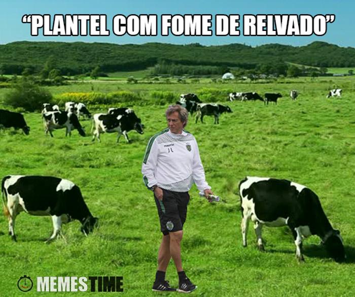 """Meme Jorge Jesus no meio de Vacas a pastar – """"Plantel com fome de Relvado"""""""